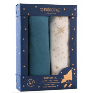 2 SWADDLES BUTTERFLY - AZUL