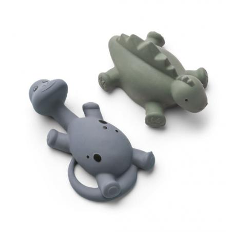 conjunto 2 brinquedos dinossauro verde e azul