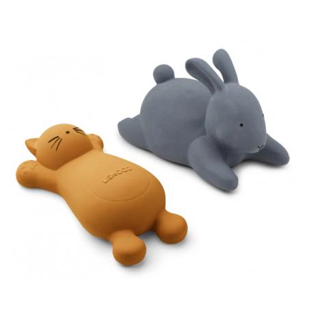 2 brinquedos de banho gato mostarda e coelho azul