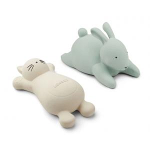 2 brinquedos de banho gato creme e coelho menta