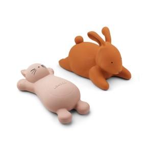2 brinquedos de banho gato rosa e coelho mostarda