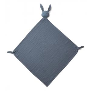 Doudou musselina coelho azul escuro