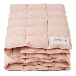 Edredon cama de grades rosa com confetis