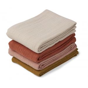 4 fraldas de algodão rosa multi mix
