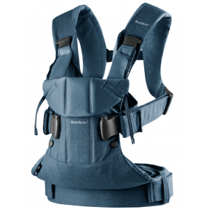 Babyjorn baby carrier one frontal e traseiro classic denim, midnight blue, cotton mix