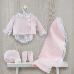 Roupa para Maria - Fofo sapatos, gorro e manta rosa
