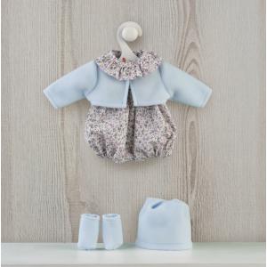 Roupa para Guille - conjunto fofo azul com flores, sapatos e gorro